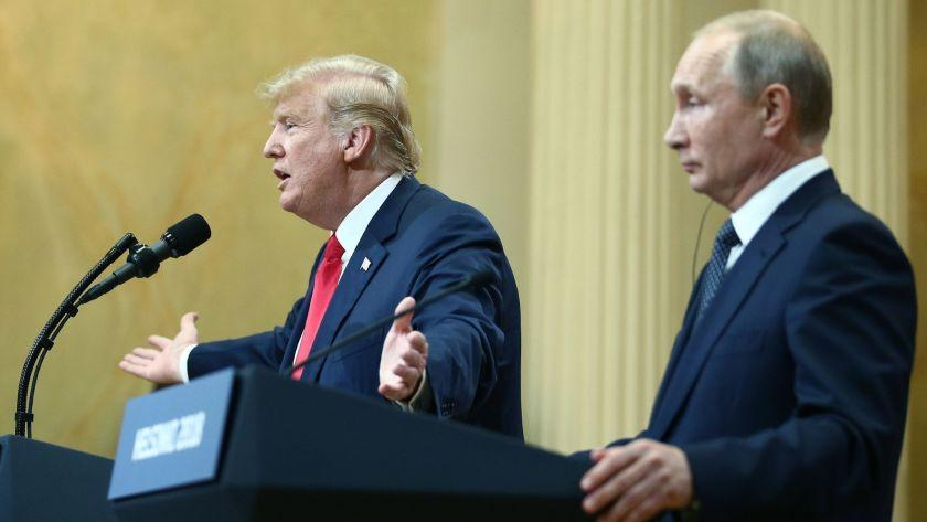US President Donald Trump (L) and Russia's President Vladimir Putin give a joint news conference following their meeting at the Presidential Palace. Helsinki, Finland, July 16, 2018. (Valery Sharifulin/Tass/Abaca Press/TNS) ** OUTS - ELSENT, FPG, TCN - OUTS **
