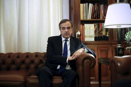 FILE PHOTO - Former Greek conservative Prime Minister Antonis Samaras, leader of the opposition New Democracy party, attends a meeting with Greek President Prokopis Pavlopoulos at the Presidential Palace in Athens, Greece June 28, 2015.   REUTERS/Alkis Konstantinidis