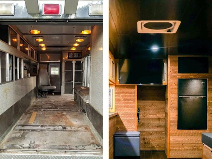 <br>The ambulance had concrete counter tops, hardwood bamboo floors, and a copper backsplash.