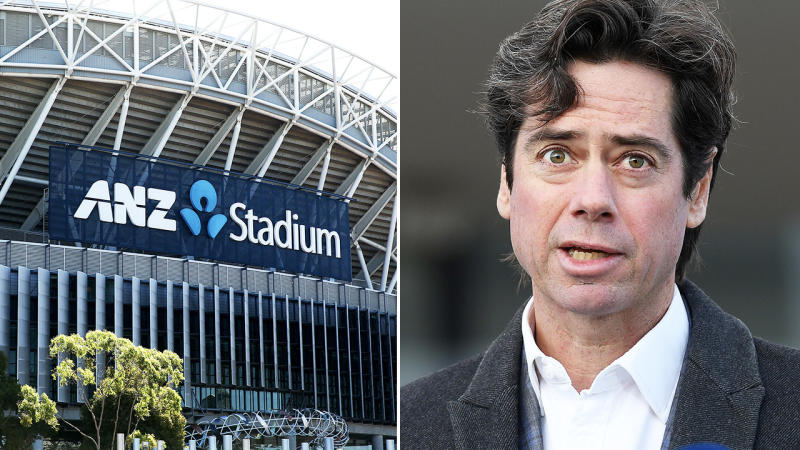 Gillon McLachlan, pictured here touting ANZ Stadium as a potential AFL grand final venue.