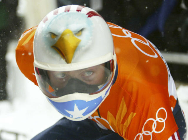 <p>One of the most iconic helmets in skeleton racing: The Jim Shea bald eagle. </p>