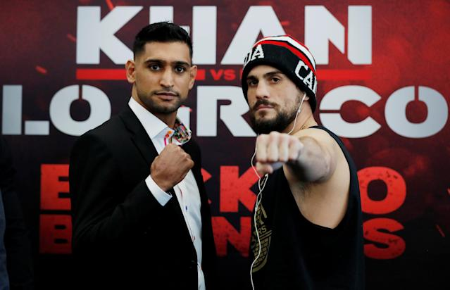 Boxing - Amir Khan & Phil Lo Greco Press Conference - Royal Liver Building, Liverpool, Britain - April 19, 2018 Amir Khan and Phil Lo Greco pose after the press conference Action Images via Reuters/Andrew Couldridge