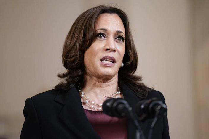 Vice President Kamala Harris speaks Tuesday, April 20, 2021, at the White House in Washington, after former Minneapolis police Officer Derek Chauvin was convicted of murder and manslaughter in the death of George Floyd. (AP Photo/Evan Vucci)