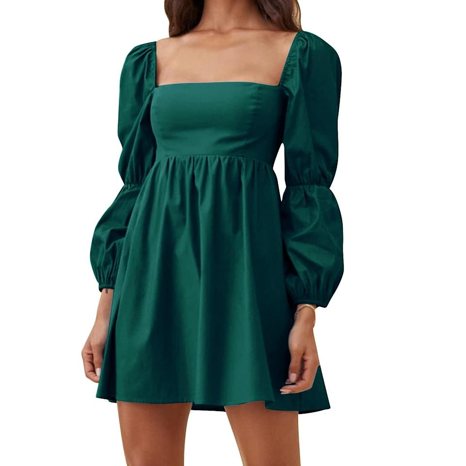 """<br><br><strong>Exlura</strong> Square Neck Puff Sleeve Mini Dress, $, available at <a href=""""https://amzn.to/3tXkAo8"""" rel=""""nofollow noopener"""" target=""""_blank"""" data-ylk=""""slk:Amazon"""" class=""""link rapid-noclick-resp"""">Amazon</a>"""