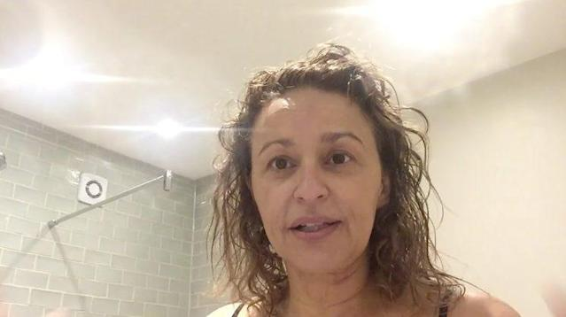 Nadia Sawalha revealed her struggle with hair loss in a recent video.(Photo: Nadia Sawalha/Facebook)