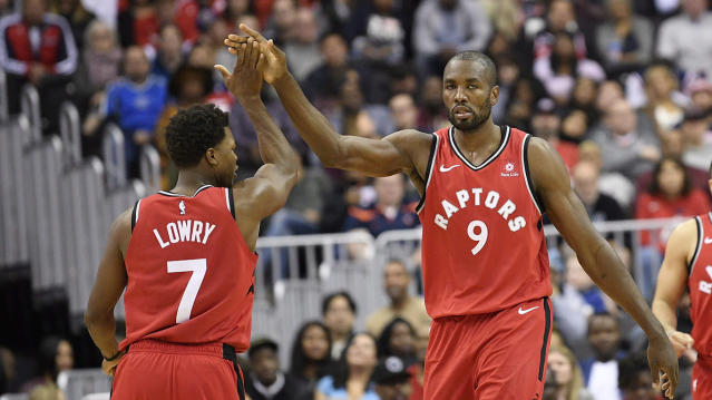 Lowry and Ibaka are both free agents after next season. (AP Photo/Nick Wass)