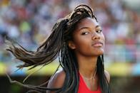 <p>Tara Davis of the USA in action during the Girls Long Jump Final on day five of the IAAF World Youth Championships, Cali 2015 on July 19, 2015 at the Pascual Guerrero Olympic Stadium in Cali, Colombia. (Photo by Patrick Smith/Getty Images for IAAF)</p>