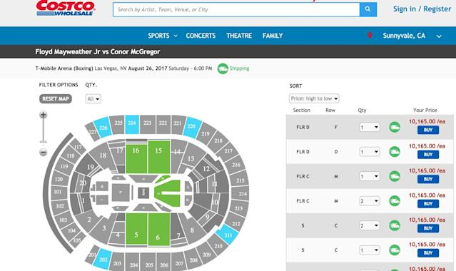 You can get tickets for the Mayweather-McGregor fight at Costco … for some reason. (Screengrab)