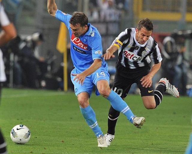 Napoli's Argentine defender Hugo Armando Campagnaro outpasses Juventus' forward Alessandro Del Piero (R) during the final of the Cup of Italy Juventus vs Napoli at the Olympic Stadium in Rome on May 20, 2012. AFP PHOTO / GABRIEL BOUYSGABRIEL BOUYS/AFP/GettyImages