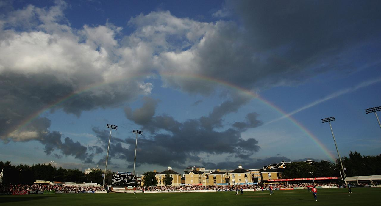CHELMSFORD, UNITED KINGDOM - JUNE 22:  A rainbow arches over the Twenty20 match between Essex Eagles and Sussex Sharks at the County Ground on June 22, 2007 in Chelmsford, England.  (Photo by Warren Little/Getty Images)