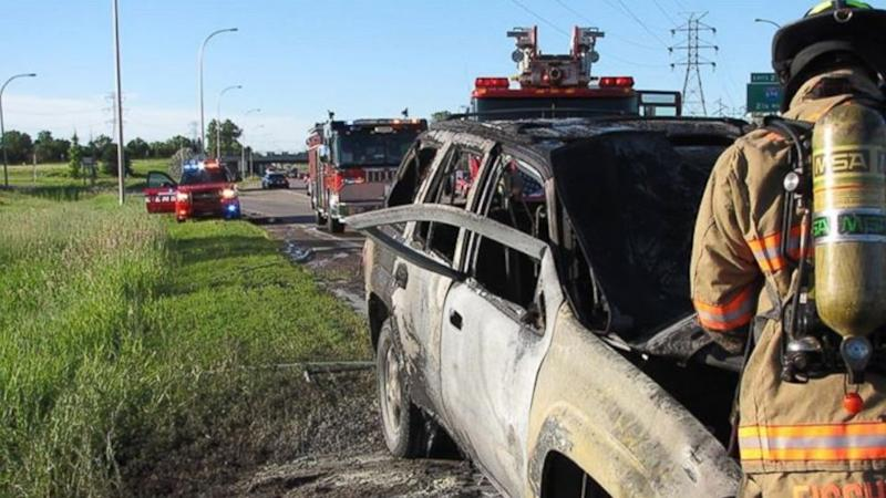 Good Samaritan Bends SUV Door to Pull Man From Burning Vehicle