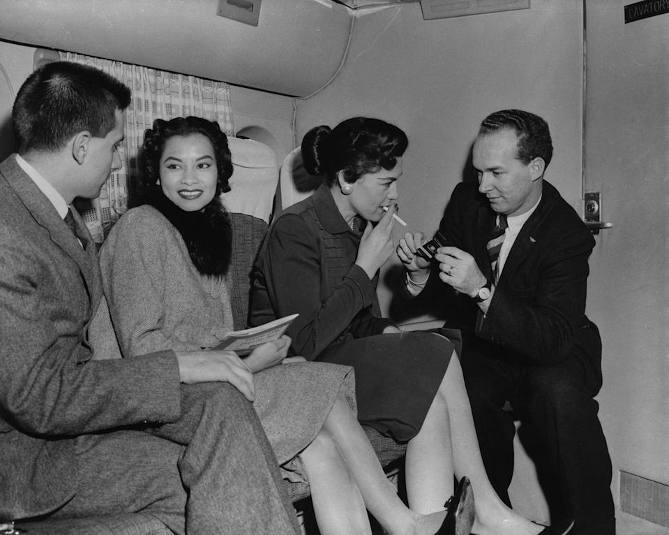 """<p>Air travel has changed in so many ways, but baby boomers remember when it was common to see people smoking on airplanes. It wasn't until the 1990s that smoking on airplanes was banned completely.</p><p><strong>RELATED:</strong> <a href=""""https://www.goodhousekeeping.com/life/travel/g28138232/ways-travel-isnt-like-the-old-days/"""" rel=""""nofollow noopener"""" target=""""_blank"""" data-ylk=""""slk:39 Ways Travel Isn't Like It Was Back In the Day"""" class=""""link rapid-noclick-resp"""">39 Ways Travel Isn't Like It Was Back In the Day</a></p>"""
