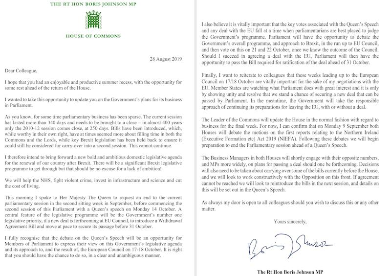 A letter written by Prime Minister Boris Johnson to MPs outlining his Government's plans (Picture: PA)
