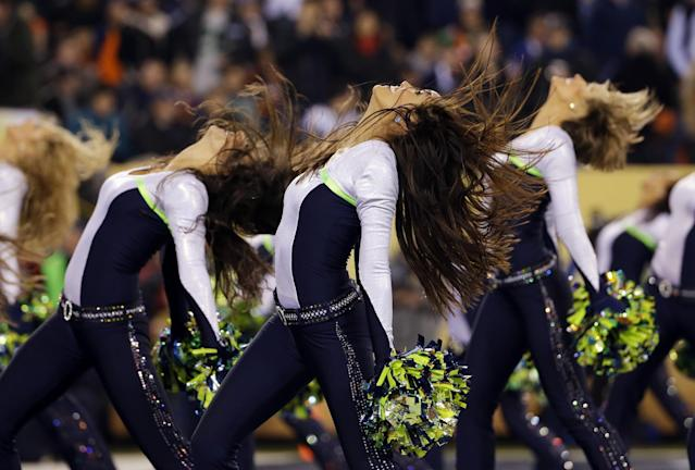 Seattle Seahawks cheerleaders perform during the first half of the NFL Super Bowl XLVIII football game between the Seahawks and the Denver Broncos, Sunday, Feb. 2, 2014, in East Rutherford, N.J. (AP Photo/Matt Slocum)
