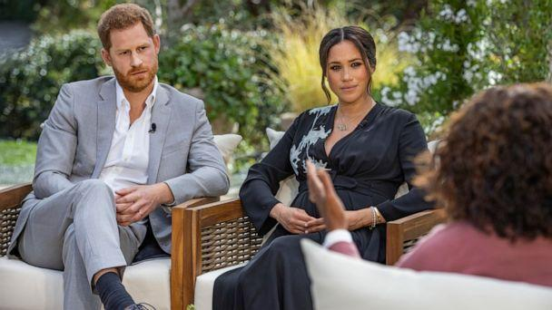 PHOTO: This image provided by Harpo Productions shows Prince Harry, from left, and Meghan, The Duchess of Sussex, in conversation with Oprah Winfrey. (Joe Pugliese/Harpo Productions)