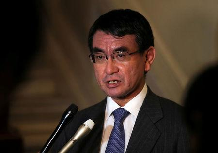 FILE PHOTO: Japanese Foreign Minister Taro Kono answers a question at the end of a meeting in Ankara, Turkey, December 28, 2017. REUTERS/Umit Bektas/File Photo