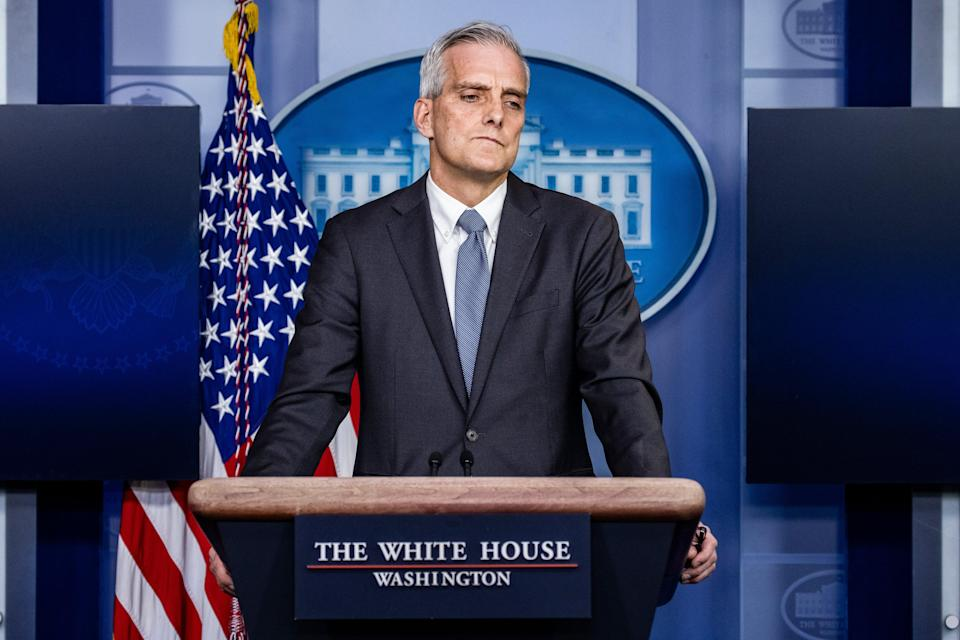 Secretary of Veterans Affairs Denis McDonough speaks during the daily press briefing in the Brady Press Briefing Room at the White House on 4 March, 2021 in Washington, DC. He has announced that gender confirmation surgery will be available to transgender veterans through Veterans Affairs health care coverage (Getty Images)