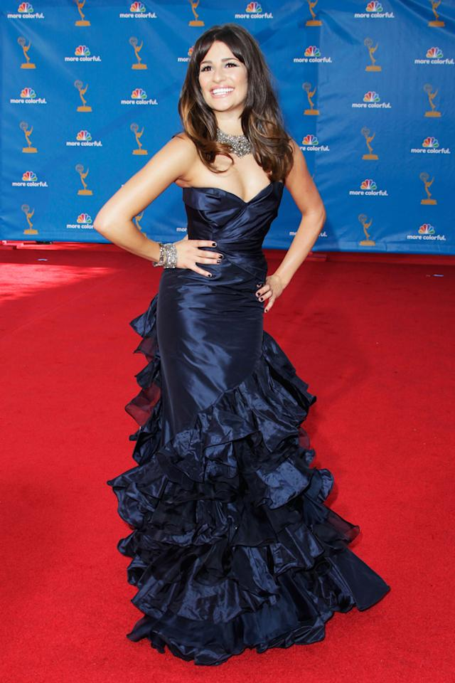 Lea Michele arrives at the 62nd Annual Primetime Emmy Awards held at the Nokia Theatre L.A. Live on August 29, 2010 in Los Angeles, California.