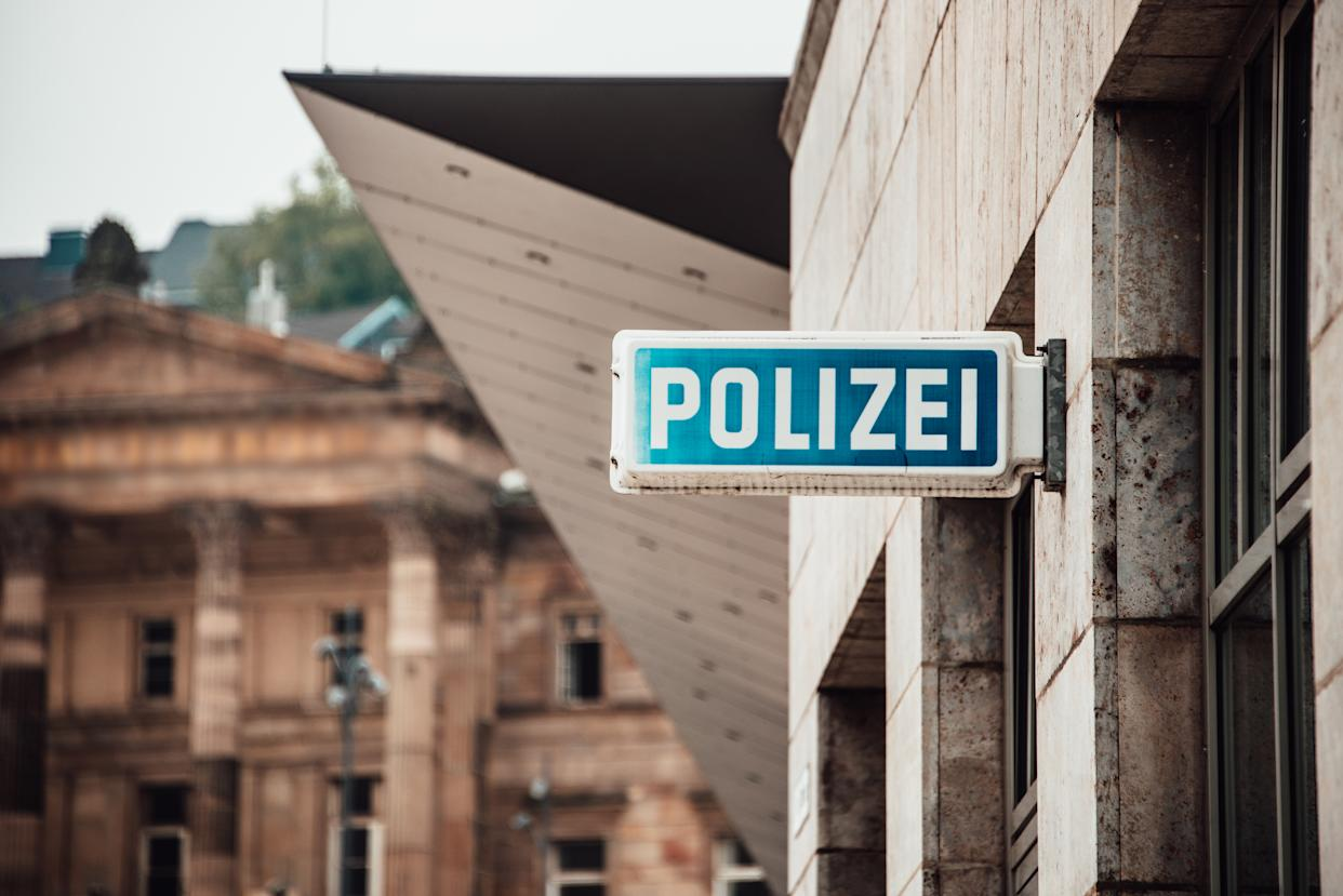 German police sign in a street