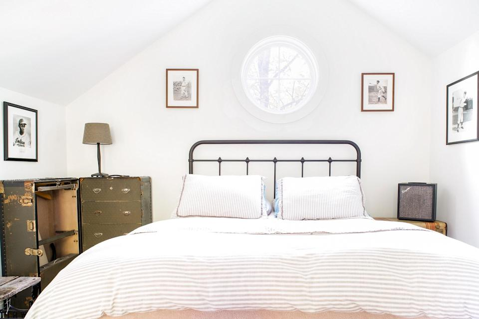 """<p>The guesthouse of a professional songwriter and producer, this Airbnb is perfect for amateur musicians, since it has a piano and guitars on hand for guests to enjoy. It's located off the tourist track, near <a href=""""https://www.cntraveler.com/destinations/nashville?mbid=synd_yahoo_rss"""" rel=""""nofollow noopener"""" target=""""_blank"""" data-ylk=""""slk:Nashville's"""" class=""""link rapid-noclick-resp"""">Nashville's</a> 12 South neighborhood, and includes one lofted bedroom, a spacious living area downstairs, a full, well-equipped kitchen, much-needed air conditioning, and a grill on the small outdoor patio. The host also offers self check-in for guests for a more contactless experience. </p> <p><strong>Book now:</strong> <a href=""""https://airbnb.pvxt.net/jq1W5"""" rel=""""nofollow noopener"""" target=""""_blank"""" data-ylk=""""slk:From $99 per night, airbnb.com"""" class=""""link rapid-noclick-resp"""">From $99 per night, airbnb.com</a></p>"""