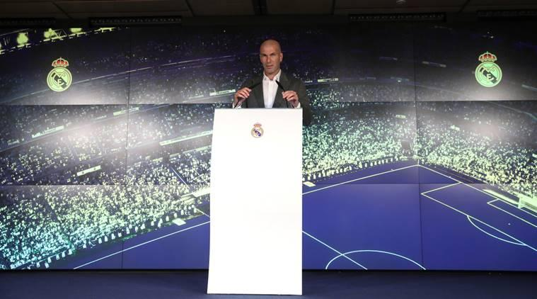 Real Madrid coach Zinedine Zidane during the press conference