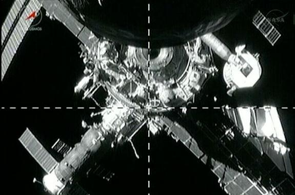View from a camera on board Progress M-19M (51P), as the Russian cargo freighter undocked from the International Space Station (ISS) on June 11, 2013.