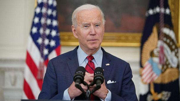 PHOTO: President Joe Biden speaks about the Colorado shootings in the State Dining Room of the White House in Washington, DC, March 23, 2021. (Mandel Ngan/AFP via Getty Images)