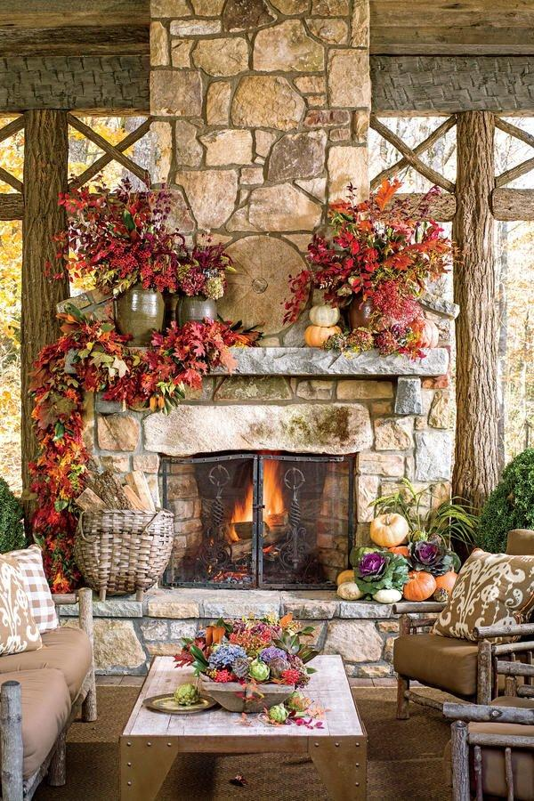 <p>Take advantage of the seasonal foliage and incorporate it into your home décor. We love these elegantly-draped oak and magnolia leaves, and stacked pumpkins complete the fall effect.</p>
