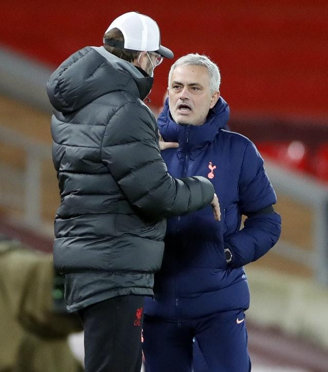 Jose Mourinho and Jurgen Klopp have a disagreement on the touchline at Anfield