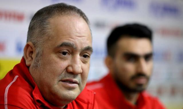 The head of Bulgarian Taekwondo Federation Slavi Binev speaks during a news conference at Vasil Levski stadium in Sofia