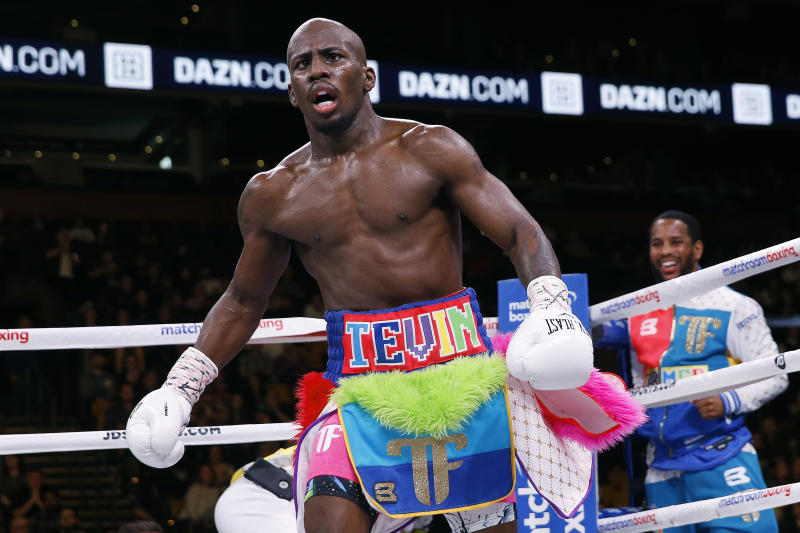 Tevin Farmer reacts after defeating James Tennyson in a TKO during an IBF super featherweight boxing match in Boston, Saturday, Oct. 20, 2018. (AP Photo/Michael Dwyer)