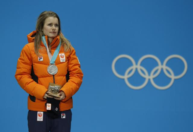 Medals Ceremony - Short Track Speed Skating Events - Pyeongchang 2018 Winter Olympics - Women's 500m - Medals Plaza - Pyeongchang, South Korea - February 14, 2018 - Silver medalist Yara van Kerkhof of the Netherlands on the podium. REUTERS/Eric Gaillard