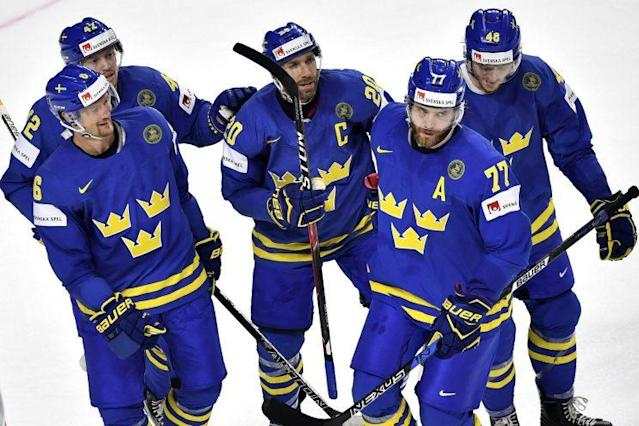 "Sweden's <a class=""link rapid-noclick-resp"" href=""/nhl/players/4682/"" data-ylk=""slk:Victor Hedman"">Victor Hedman</a> required four stitches to close a wound suffered dangerously close to his left eye. (EPA/SASCHA STEINBACH)"