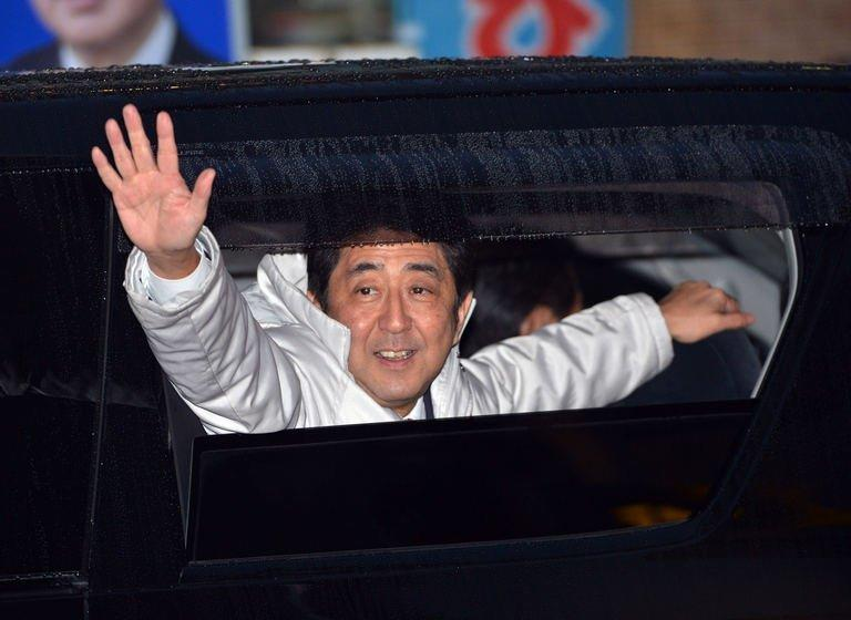 Japan's main opposition Liberal Democratic Party leader Shinzo Abe in Matsudo city on December 15, 2012