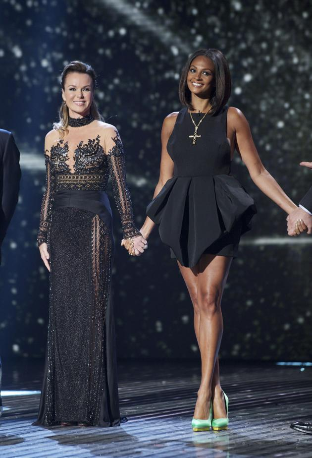BGT Fash off: Amanda Holden goes for a full-length monochrome gown for the second live show. Alesha Dixon on the other hand flaunts her legs in a black peplum mini-dress. Verdict: Alesha wins this one. Copyright [Rex]