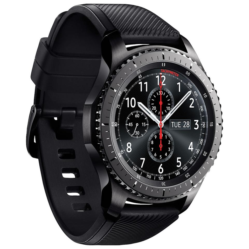 "<p>It's always a little gut-wrenching to shop for the techie because electronics aren't cheap. However, it doesn't hurt to spoil your tech-obsessed friend or family member once in a while with something like this highly intelligent cyborg in watch form. The Samsung Gear S3 Frontier Smartwatch is incredibly stylish with Bluetooth, Wi-Fi, voice command and GPS capabilities. <br /><strong><a rel=""nofollow"" href=""https://www.bestbuy.ca/en-ca/product/samsung-samsung-gear-s3-frontier-smartwatch-with-heart-rate-monitor-sm-r760ndaaxac/10488762.aspx"">SHOP IT: Best Buy, $399.99</a></strong> </p>"