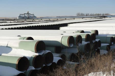 A depot used to store pipes for Transcanada Corp's planned Keystone XL oil pipeline is seen in Gascoyne North Dakota