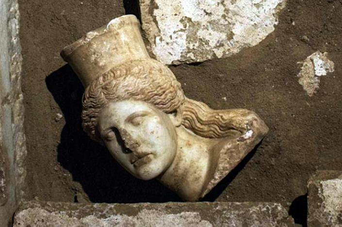 The head of a sphinx discovered in the largest tomb ever unearthed in Amphipolis, in the Macedonian region of northern Greece (AFP Photo/)