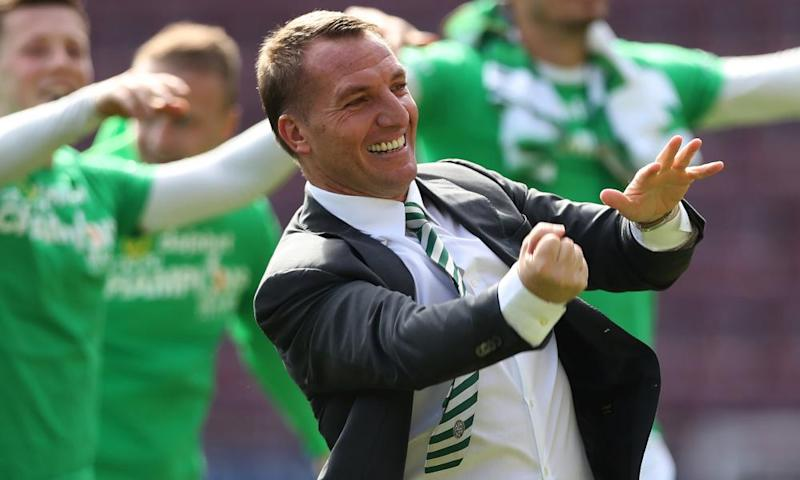 Celtic manager, Brendan Rodgers, celebrates at full time as Celtic win the title with a 5-0 win over Hearts.