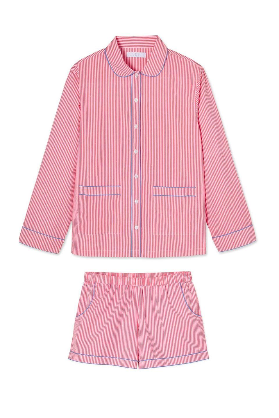 "<p>lakepajamas.com</p><p><strong>$118.00</strong></p><p><a href=""https://go.redirectingat.com?id=74968X1596630&url=https%3A%2F%2Flakepajamas.com%2Fcollections%2Fnew-arrivals%2Fproducts%2Fpicnic-poplin-piped-shorts-set&sref=https%3A%2F%2Fwww.countryliving.com%2Fshopping%2Fgifts%2Fg35120806%2Fbest-pajamas%2F"" rel=""nofollow noopener"" target=""_blank"" data-ylk=""slk:Shop Now"" class=""link rapid-noclick-resp"">Shop Now</a></p><p>Another great choice from Lake Pajamas. This set has blue piping that offsets the red stripes in the most subtly patriotic way. </p>"