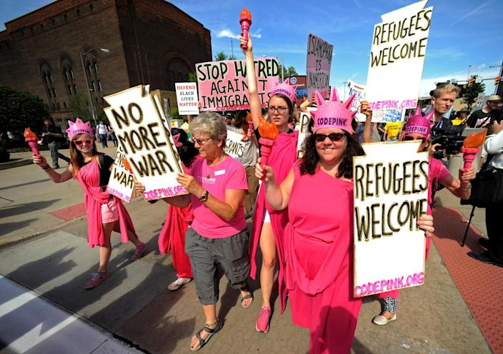 <p>Code Pink activists march down Euclid Avenue during a demonstration against the Republican National Convention in Cleveland, Ohio, July 17, 2016. (Photo: Steve Nesius/Reuters)</p>