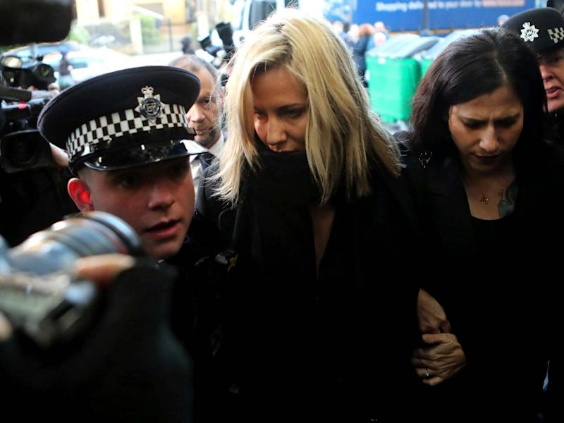 Caroline Flack arrives at Highbury Corner Magistrates' Court on Monday: AP