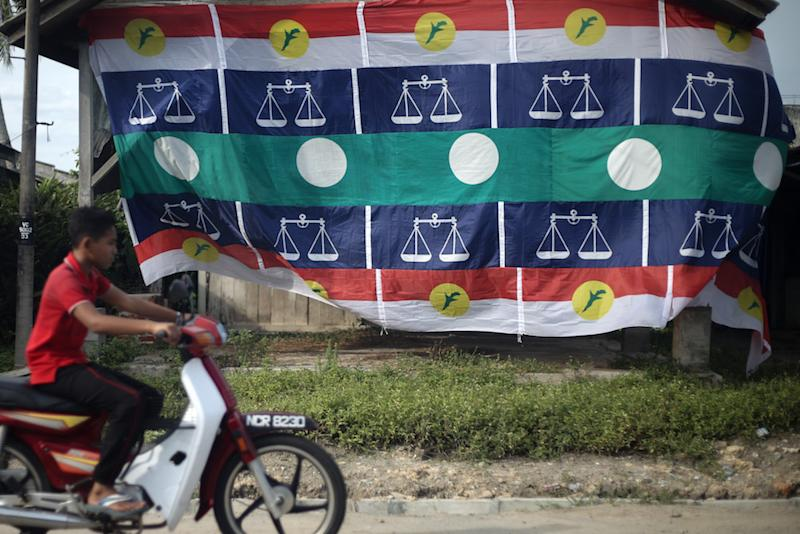 Umno, PAS and Barisan Nasional flags are seen in Rantau April 12, 2019. — Picture by Ahmad Zamzahuri