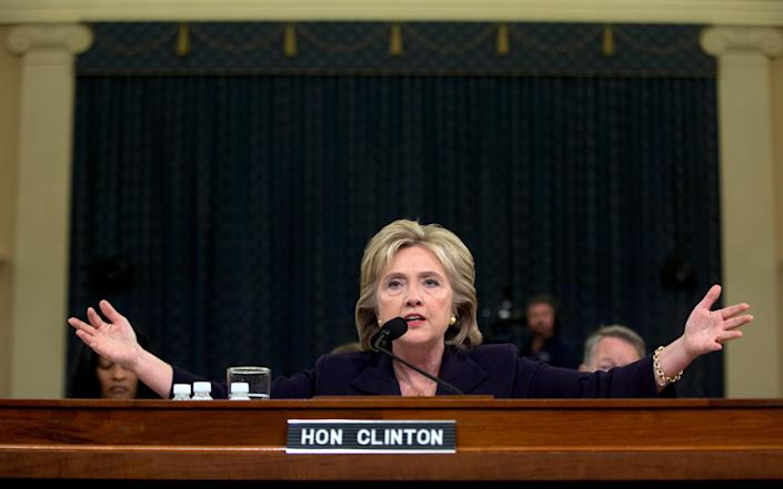 Hillary Clinton testifies before the House Select Committee on Benghazi in Washington on Oct. 22, 2015.