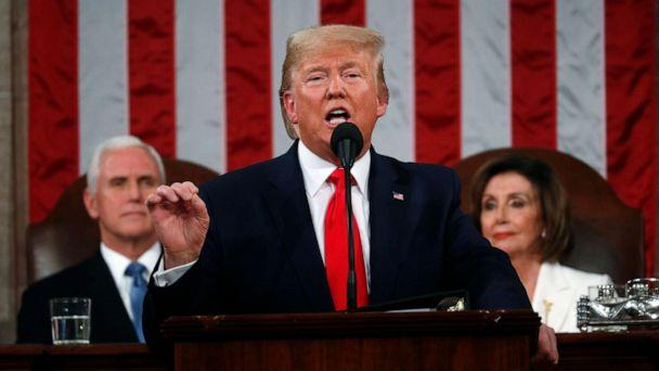 PHOTO: President Donald Trump delivers his State of the Union address to a joint session of Congress in the House Chamber on Capitol Hill in Washington, Tuesday, Feb. 4, 2020, as Vice President Mike Pence and Speaker Nancy Pelosi look on. (Leah Millis/Pool via AP)