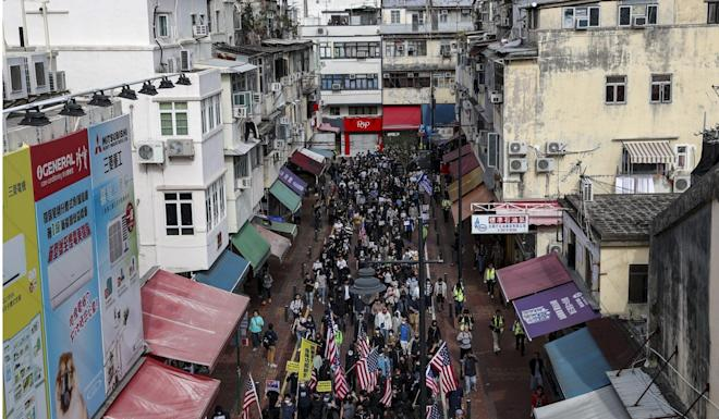 The border town of Sheung Shui played host to a rally against mainland Chinese parallel traders on January 5. Police ended up arresting about 50 after the march deviated from its authorised route. SCMP: Sam Tsang