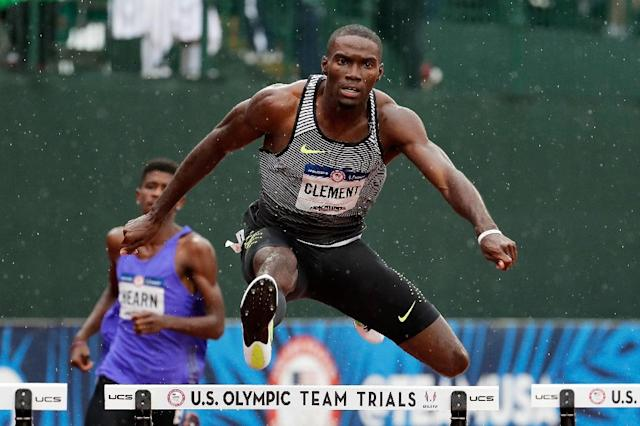 Kerron Clement competes in the first round of the 400m hurdles during the 2016 US Olympic Track & Field Team Trials, in Eugene, Oregon, on July 7 (AFP Photo/Andy Lyons)