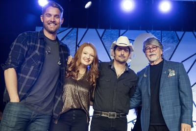 Brett Young, St. Jude patient Addie, Brad Paisley and Randy Owen at the St. Jude Country Cares Seminar.