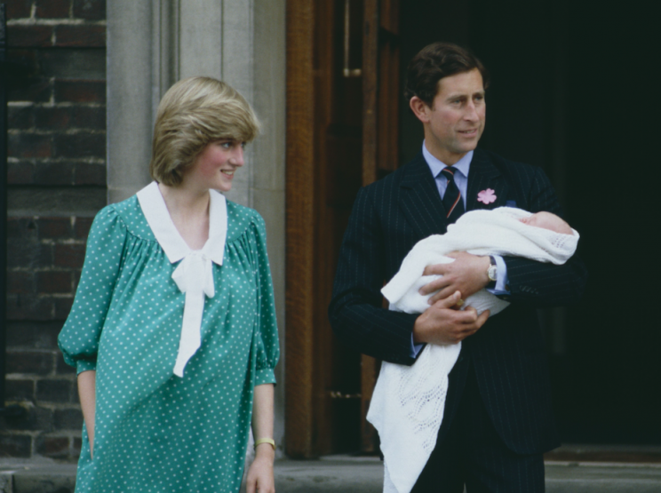 Diana and Charles leaving hospital with a newborn William in 1982 (Picture: Rex)