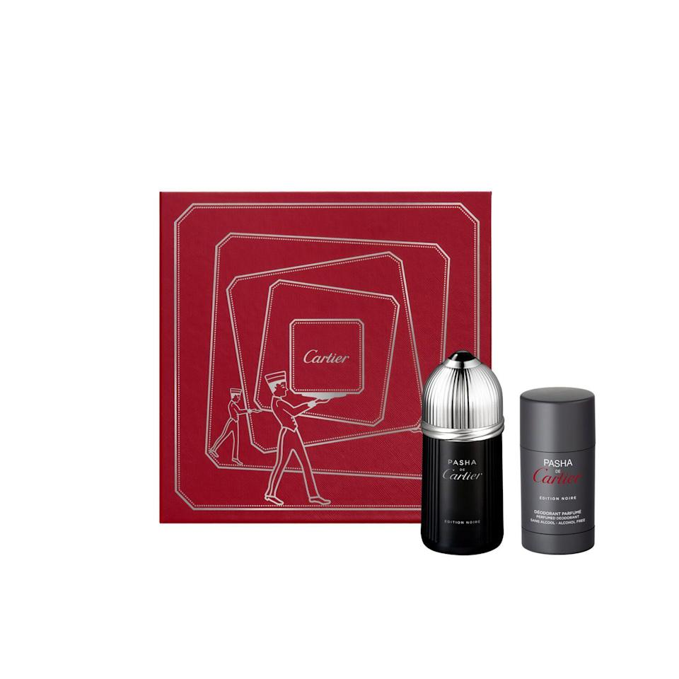 """<p><strong>Cartier</strong></p><p>saksfifthavenue.com</p><p><strong>$100.00</strong></p><p><a href=""""https://fave.co/2TSing0"""" rel=""""nofollow noopener"""" target=""""_blank"""" data-ylk=""""slk:SHOP NOW"""" class=""""link rapid-noclick-resp"""">SHOP NOW</a></p><p>Your mom wants a Cartier watch, but don't make dad feel left out. This gift set comes with a yummy cologne and deodorant for all-day freshness.</p>"""